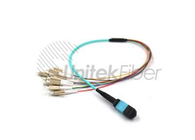 High Quality MPO-LC Fiber Optic Patch Cable 12x0.9mm LC Pigtails OM3